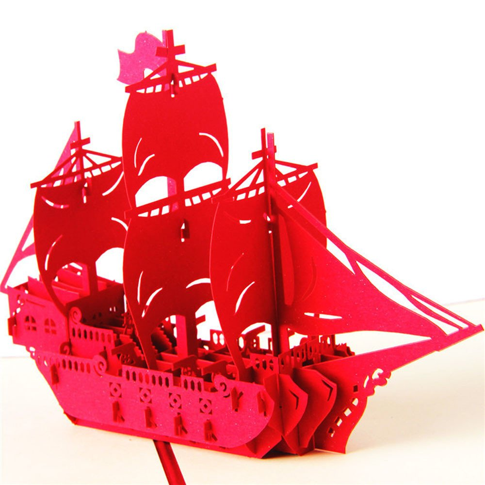 Carood 3D Pop-Up Ship Card Wedding Mother Lover Birthday Graduation Anniversary Greeting Card