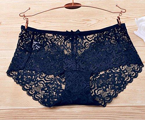 POKWAI Las Mujeres Ropa Interior Atractiva Del Cordón De La Tentación Paquete De 3 Lure Transparente Pantalones De Cintura Los Pantalones Del Hueco A3