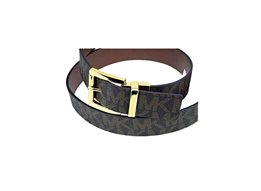ee887264a95f Michael Kors Mk Signature Monogram Reversible Logo Gold Buckle Brown Tan  Belt Size Small
