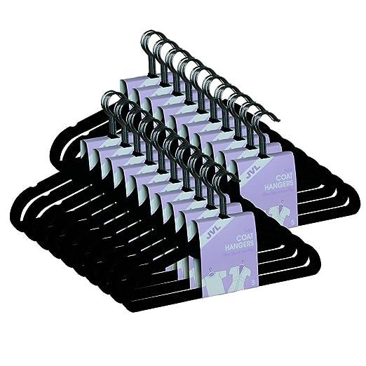 JVL Perchero de Pared de Terciopelo Fino, Ahorro de Espacio, Antideslizante, Color Negro, de la Marca, Negro, Pack de 10