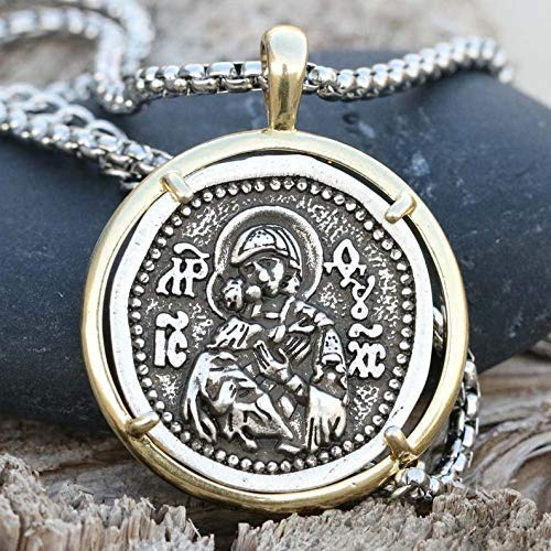 Mens Necklace Icon Miraculous Russian Medallion Religious Greek Jewelry