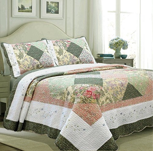 Cozy Line Home Fashions Floral Real Patchwork Olive Green Pink Country, 100% Cotton Quilt Bedding Set, Reversible Coverlet Bedspread, Scalloped Edge,Gifts for Women (Williamsburg, Queen - 3 Piece) from Cozy Line Home Fashions