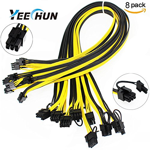 YEECHUN [Shipping from New York] 8-PACK New 16AWG 6Pin PCI to 6+2Pin Male to Male PCI-E Cable (27.5 Inch/70CM) PCI-E 6Pin to 6+2Pin Cable for GPU Breakout Board GPU Mining Power Supply ()