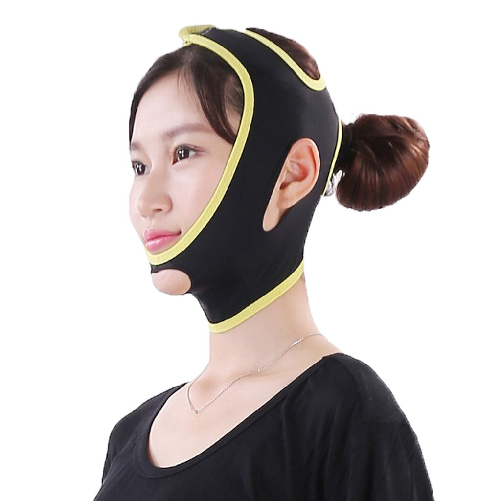 MagiDeal Face Shaper Belt V Line Facial Lift Up Shaping Half Strap Slimmer Belt Band for Double Chin Cheek Lift Up - Black, L