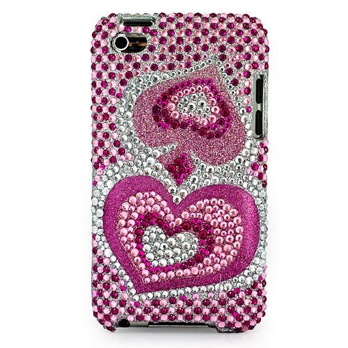 Pink Hearts Rhinestone Snap One Case Cover for Apple iPod Touch 4