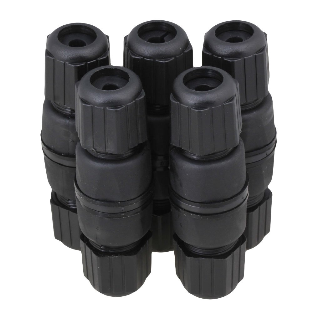 Mxfans 5 pcs Black RJ45 M25 IP67 Protection Double-Ended Waterproof Connector blhlltd