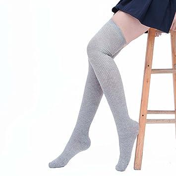 butterme Mujer de calcetines algodón Invierno Medias niña punto Alto través 09.1808 überknie kniestrümpfe escolar Calcetines Deportivos gris gris claro: ...