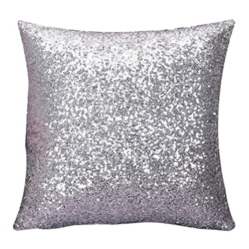 Woaills Throw Pillow Cases, Glitter Sequins Square Pillowcase Cushion Covers 16 x 16 with Hidden Zipper (Silver)
