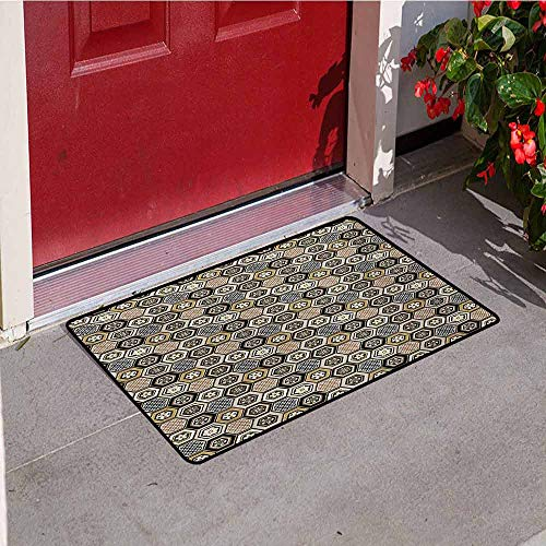 Jinguizi Floral Commercial Grade Entrance mat Victorian Damask Baroque Hexagon Rococo Interlocking Abstract Design for entrances garages patios W23.6 x L35.4 Inch Pale Coffee Tan Warm Taupe
