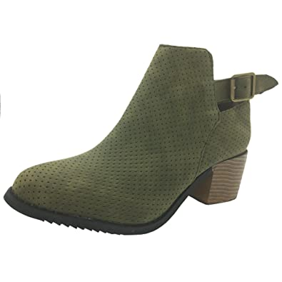 6b3bc4da2e Amazon.com | Women Low Heel Ankle Booties Slip On Suede Crisscross Braid Chunky  Block Stacked Round Toe Ankle Boots | Ankle & Bootie