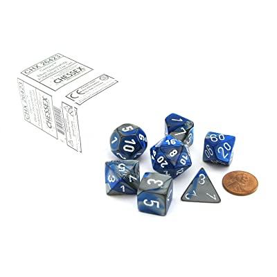 Chessex Polyhedral 7-Die Gemini Dice Set - Blue-Steel with White CHX-26423: Toys & Games