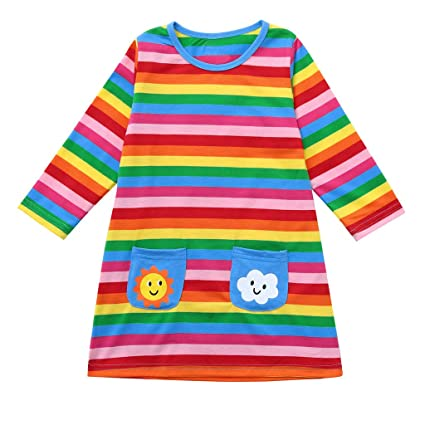 95e7b35e6 Fineser Baby Clothes Toddler Baby Girls Long Sleeve Cartoon Striped Rainbow  Sun Cloud Pockets Print Dress Clothes 1-5Y (Multicolour, 12-18 Months(90)):  ...
