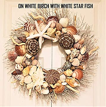21 Glittering Christmas Seashell Wreath on Birch Twig with Glittering Sea Shells in 6 Color Variations