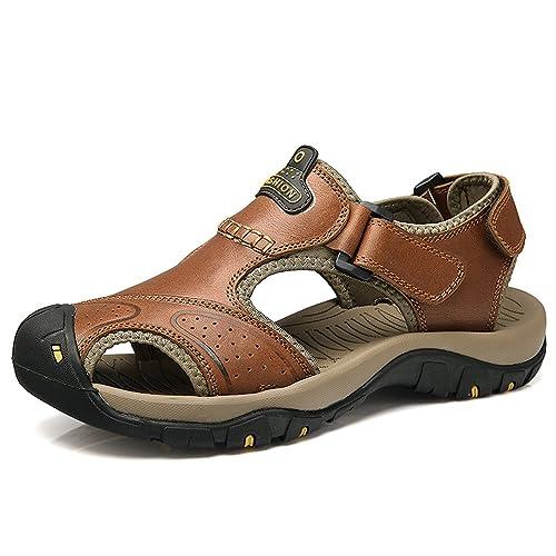Sandali Sportivi Sandali da Spiaggia in Pelle da Uomo Outdoor da Uomo  Casual Scarpe da Pescatore 480737ea341
