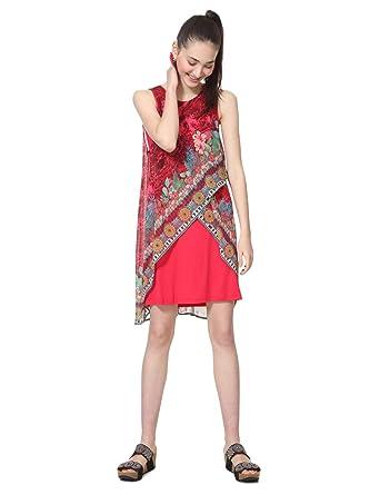 Femme Red Dress Monique Sleeveless Robe Woman Desigual nw0mvN8