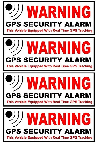 4-Pc Optimum Fashionable Outside Adhesive Warning GPS Security Alarm Stickers Signs Door Reflective Anti-Theft Window Size 4.5