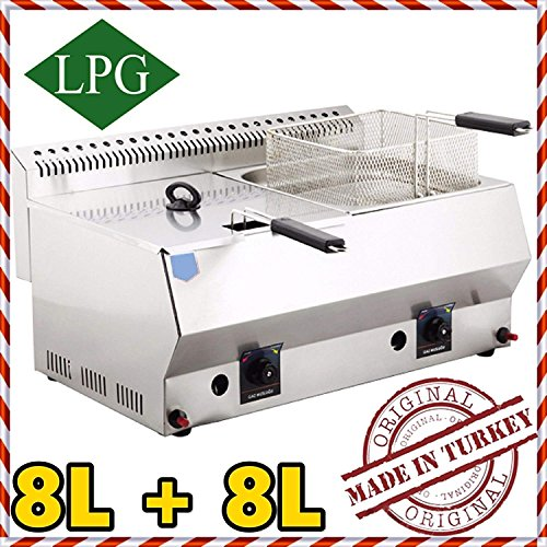 (Dual Tank 8+8 lt. Total:16 LT. Capacity, Stainless Steel Countertop Tabletop Propan PROPANE (LPG) GAS Deep Fryer with 2x Basket and 2x Lid INCLUDED, Commercial industrial Catering Restaurant)