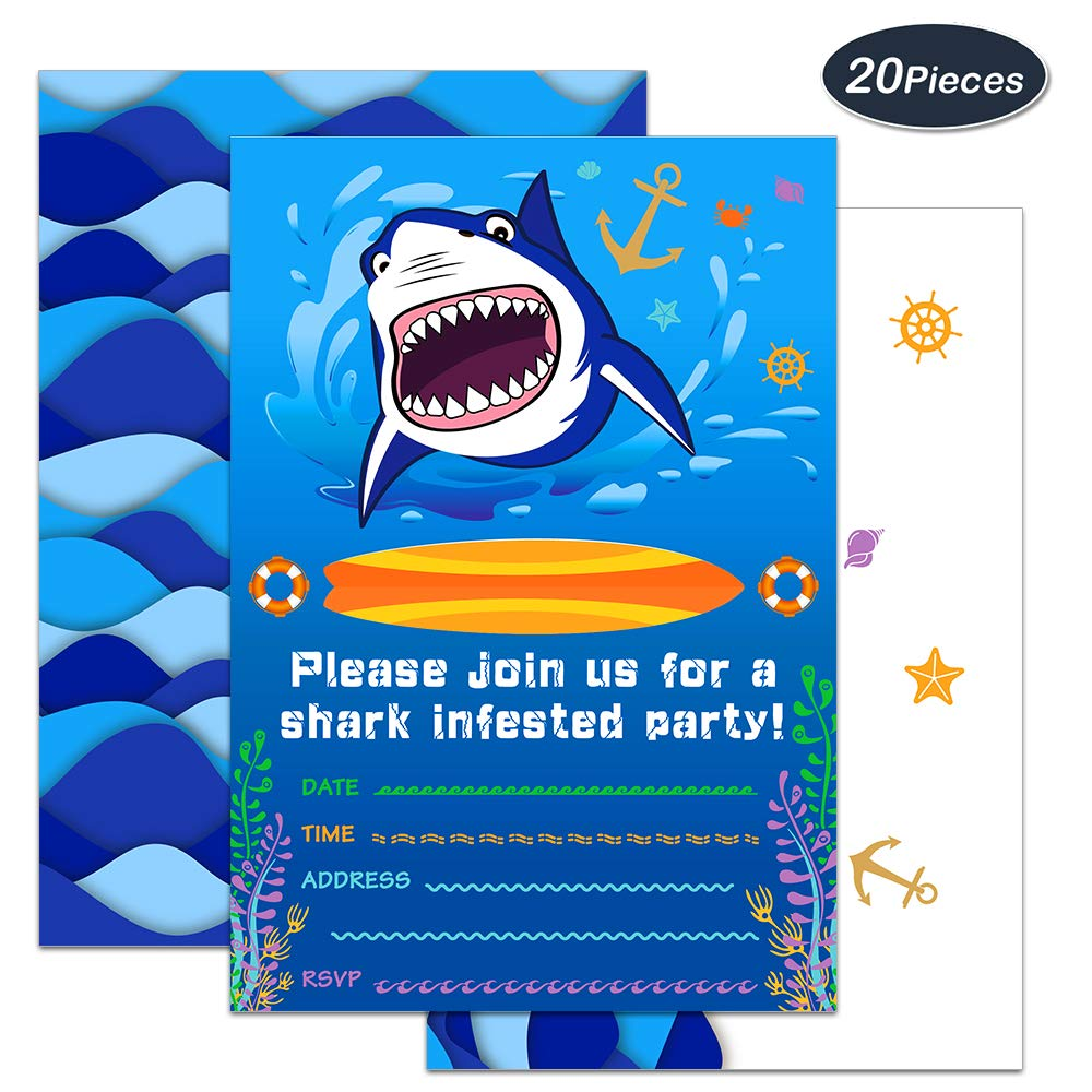 WERNNSAI Shark Party Invitations with Envelopes - Blue Ocean Shark Party Supplies 20 Set Invitation Cards for Boys Birthday Baby Shower Pool Party