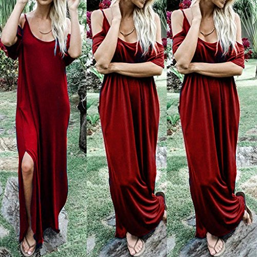 Red Womens Solid Maxi Vest Long Sleeveless Dresses Tank ANBOO R7fq1w87