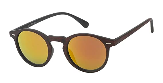 Sonnenbrille Panto Holzmaserung Vintage Retro 400UV Schlüsselloch Steg blau CvNOXjaG