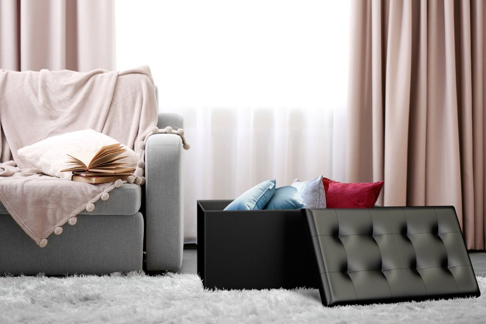 Our Policy - Black Faux Leather Ottoman Storage Bench -Great As A Double Seat