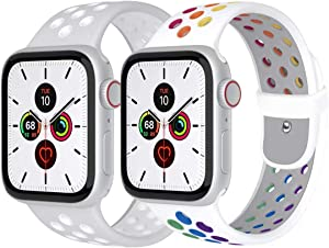 Zsuoop Sport Watch Band Compatible with Apple Watch Bands 38mm 40mm 42mm 44mm,Soft Silicone Wristband for Apple Watch Series 6/SE/5/4/3/2/1,2pack,Pride/Silver&White-42S