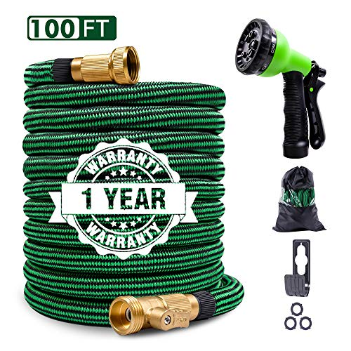 Expandable Garden Hose 100ft Flexible Water Hose with 4 Layered Latex Core, 3/4″ Solid Brass Fittings, 8 Patterns Spray Nozzle for Outdoor Lawn Watering & Car Washing
