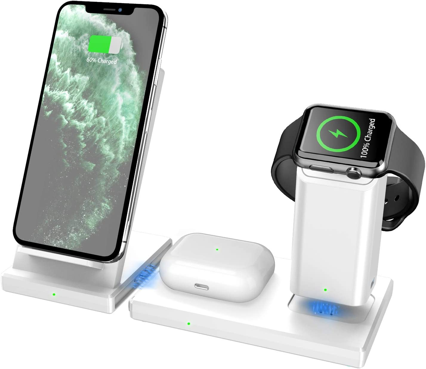 Wireless Charger MANKIW 3 in 1 Fast Charging Station for Apple iWatch AirPods Pro, Wireless Charging Stand Compatible for iPhone 11/11Pro/11Pro Max/XR/Xs/Xs Max/X/8/8Plus Samsung Galaxy(White)