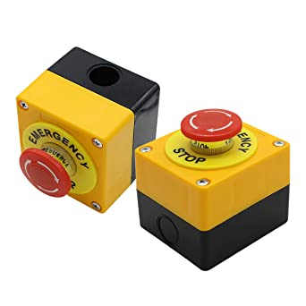 Nxtop Push Button Station, 660V 10A 2 Position 1NO 1NC Momentary Emergency Stop Push Button Switch 40mm Red Mushroom Cap 2PCS