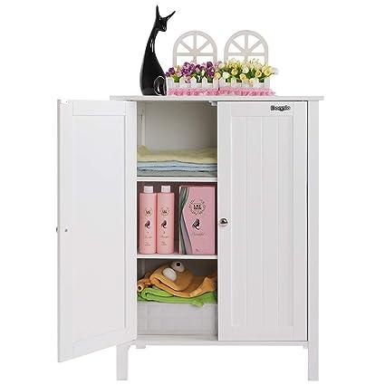 Superbe Bonnlo Bathroom Cabinet Free Standing Floor Storage With Double Door  Adjustable Shelf Decorative Living Room Modern