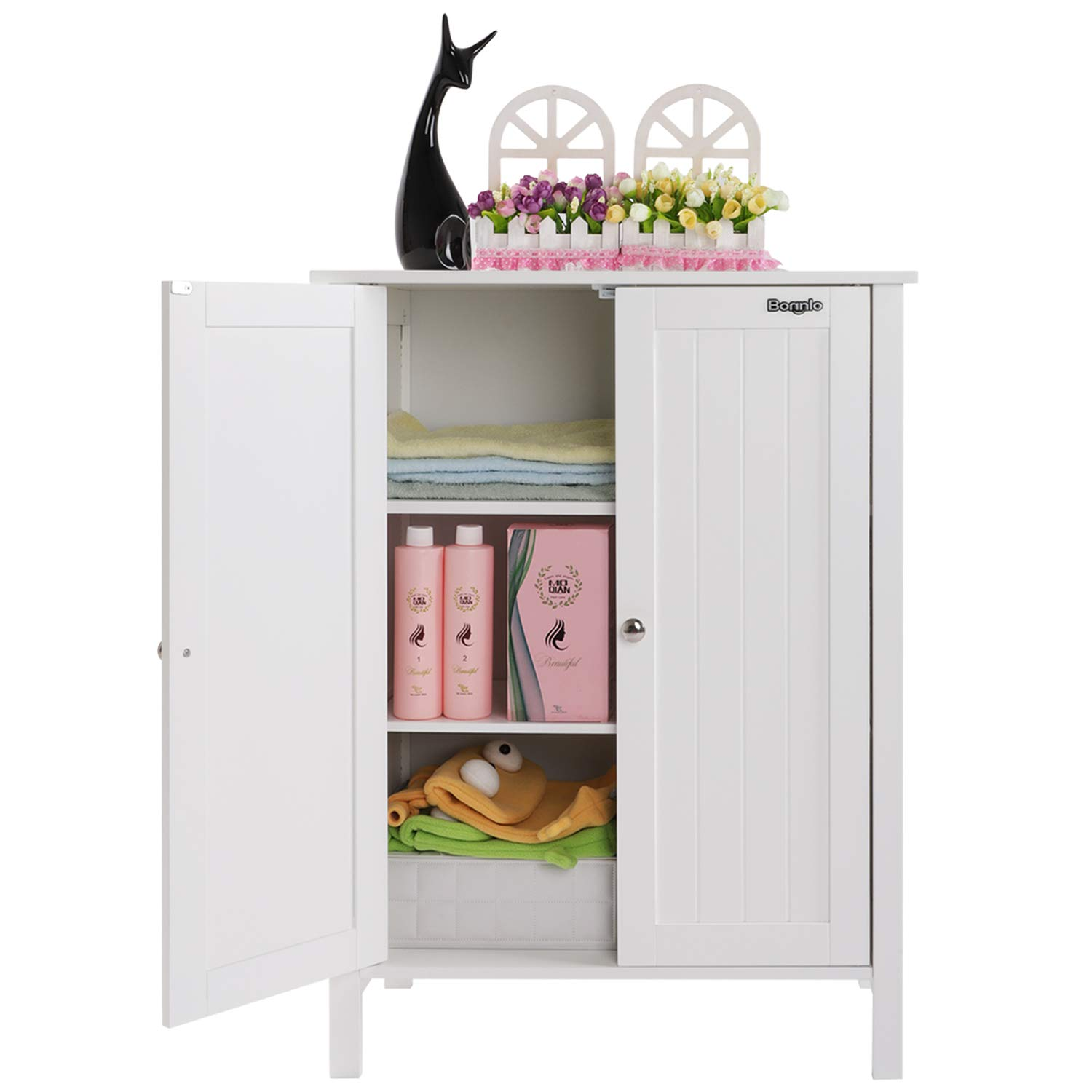 Bonnlo Bathroom Cabinet Free Standing Floor Storage With
