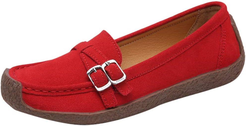 AG&T Las Mujeres de Gamuza Casual Cabeza Cuadrada de Fondo Plano Lok Fu Zapatos Zapatos Antideslizantes Casuales Moda Zapatos Planos cómodos: Amazon.es: Deportes y aire libre