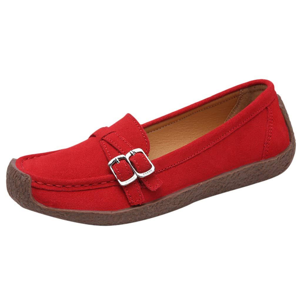 Klassische Mokassins Damen Wildleder Flache Loafer mit Schnalle Frauen Elegante Slipper Bequeme Leichte Atmungsaktiv Halbschuhe Casual Schuhe Celucke