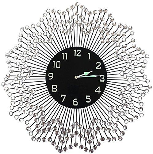 "LuLu Decor,23.50"" Celebration Decorative Wall Clock, Black Glass Number Dial 9.50"", Handmade Metal Clock for Living Room, Bedroom & Office Space"