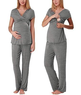 Chemise De Nuit Maternit/é Allaitement Femmes Robe de Grossesse Coton Manche Longue Pyjama Dh/ôpital