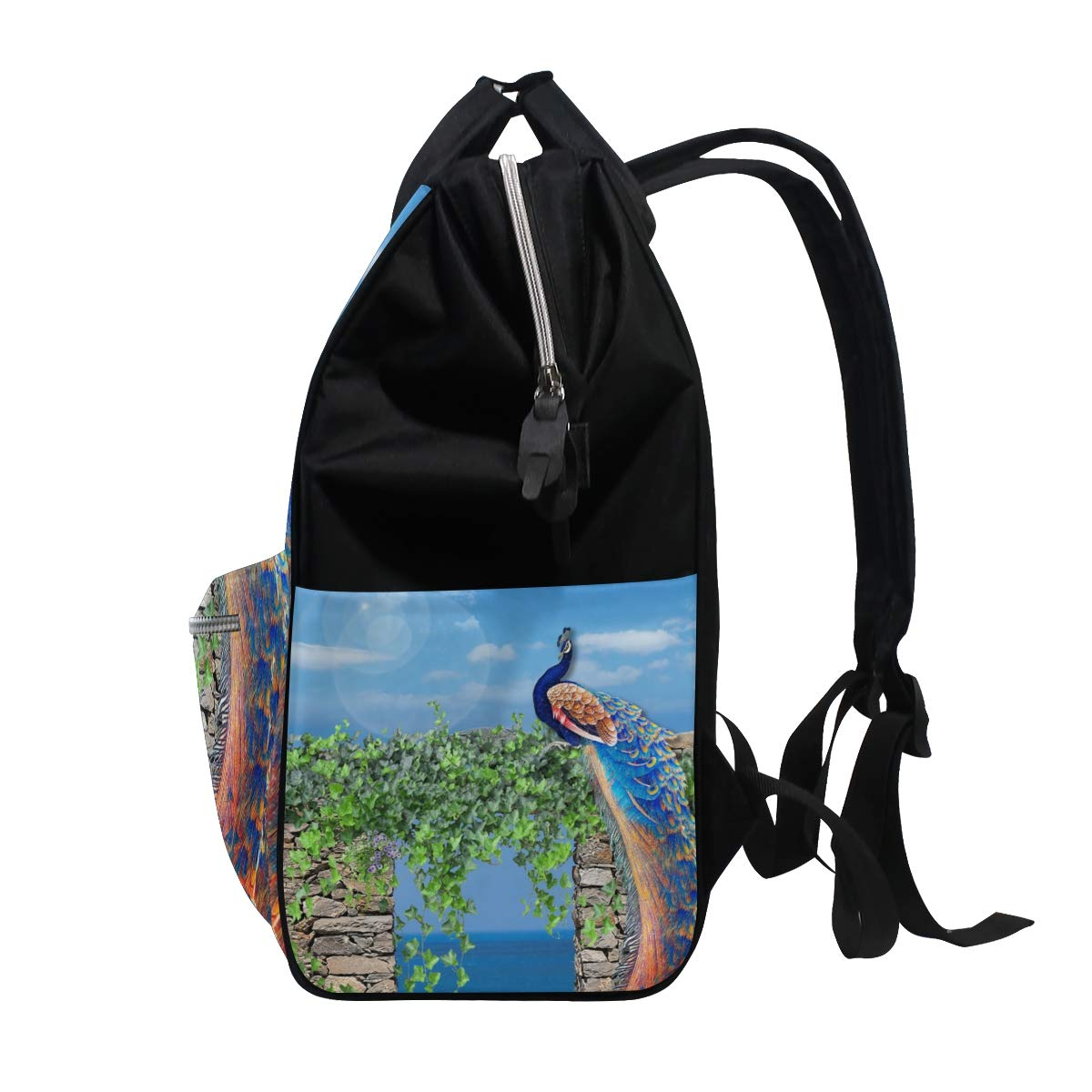 imobaby Peacock On The Stone Wall Changing Bags Large Capacity Handbags Canvas Shoulder Bag Backpack