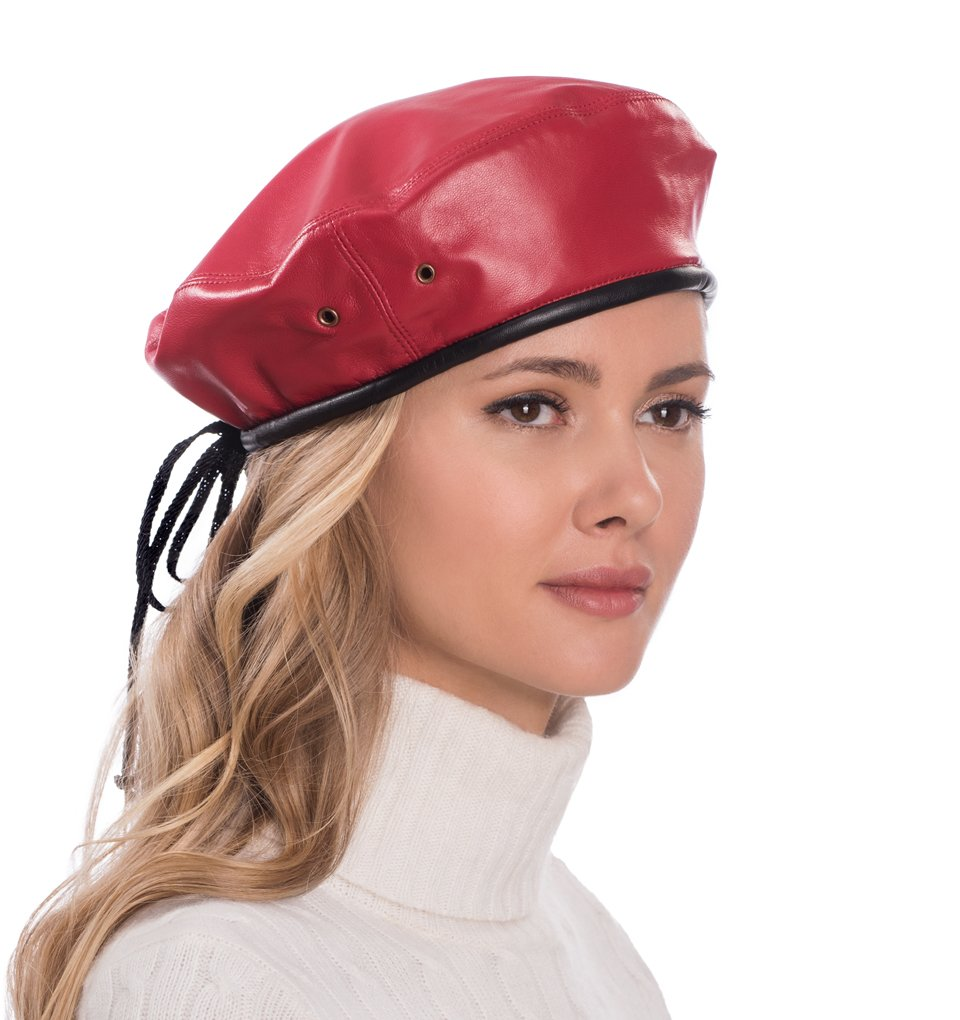 Eric Javits Luxury Fashion Designer Women's Headwear Hat - Leather Beret - Red/Black by Eric Javits