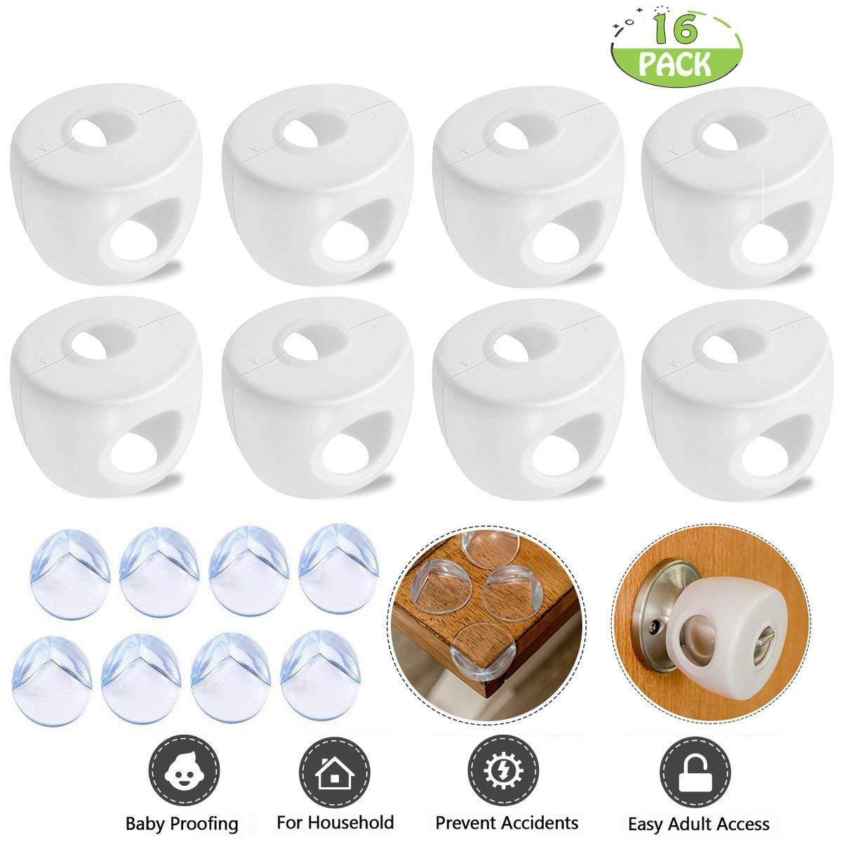 POKONBOY Door Knob Safety Cover and Furniture Clear Corner Protector for Baby and Child Home Use(16 Pack)
