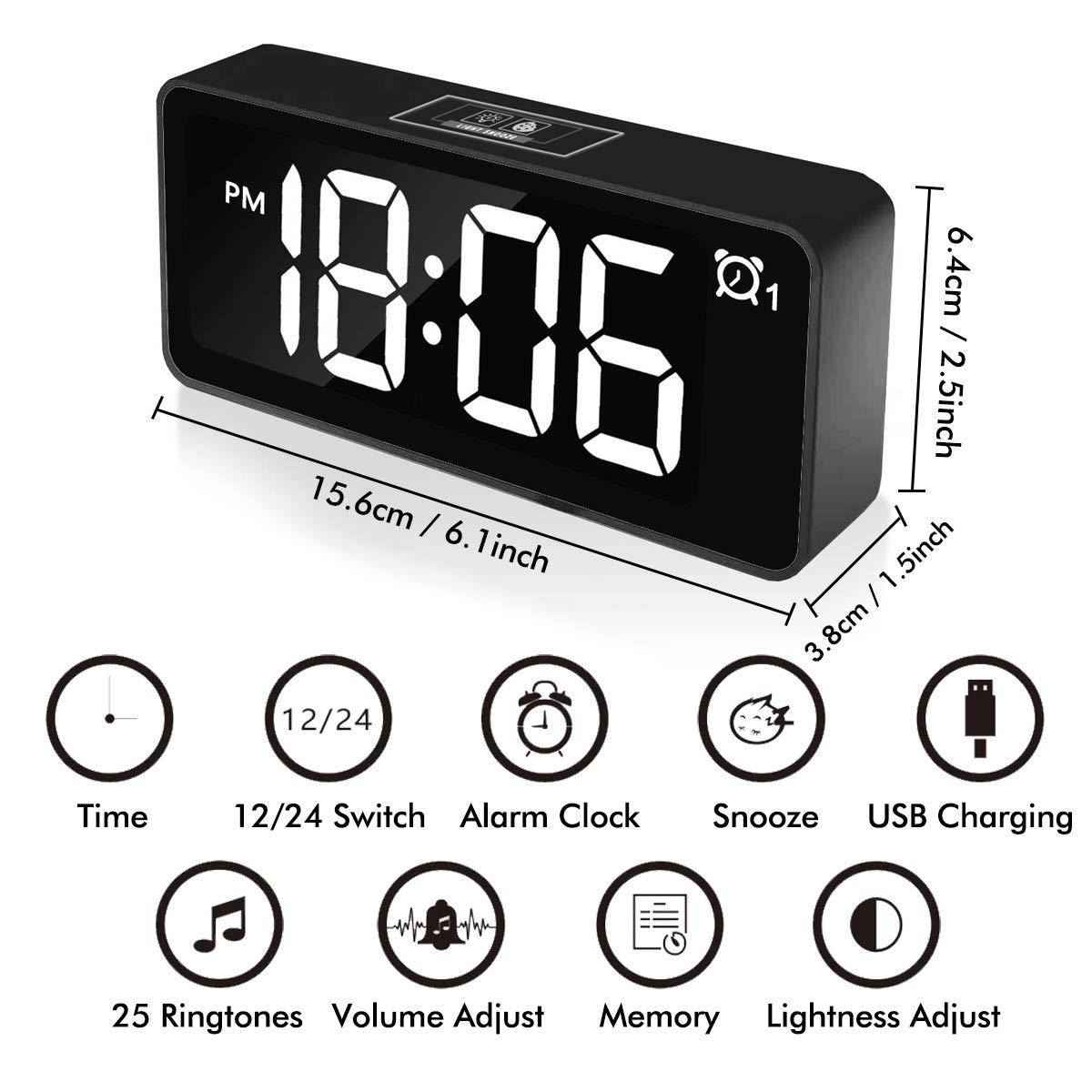 CHEREEKI Reloj Despertador Digital, Relojes de Pantalla LED de 4.6\