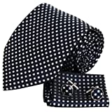 Black and White Polka dots silk tie cufflinks hanky set birthday gifts for man discount H6015
