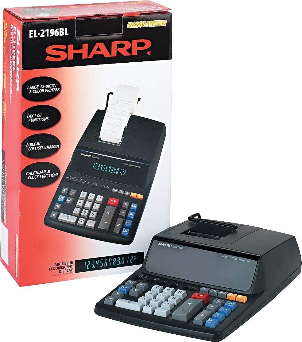 Sharp EL2196BL EL2196BL Two-Color Printing Calculator Black//Red Print 3.7 Lines//Sec