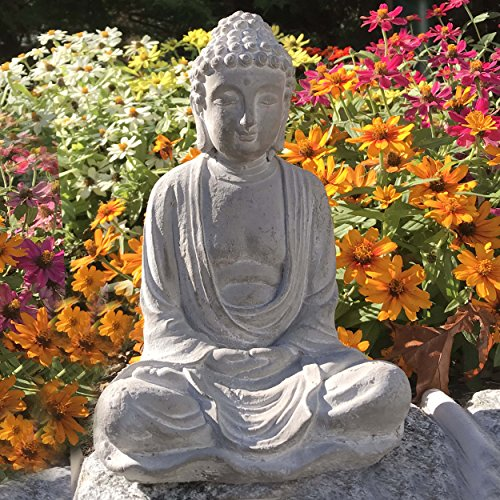 Whole House Worlds The Urban Zen Buddha Statue, Seated in Dhyanasana, Antiqued Stone Finish, Traces Of White Washed Paint, Hand Cast Cement, 11 In T, Garden and Home, From the Serenity Collection, By (Buddha Statue Seated)