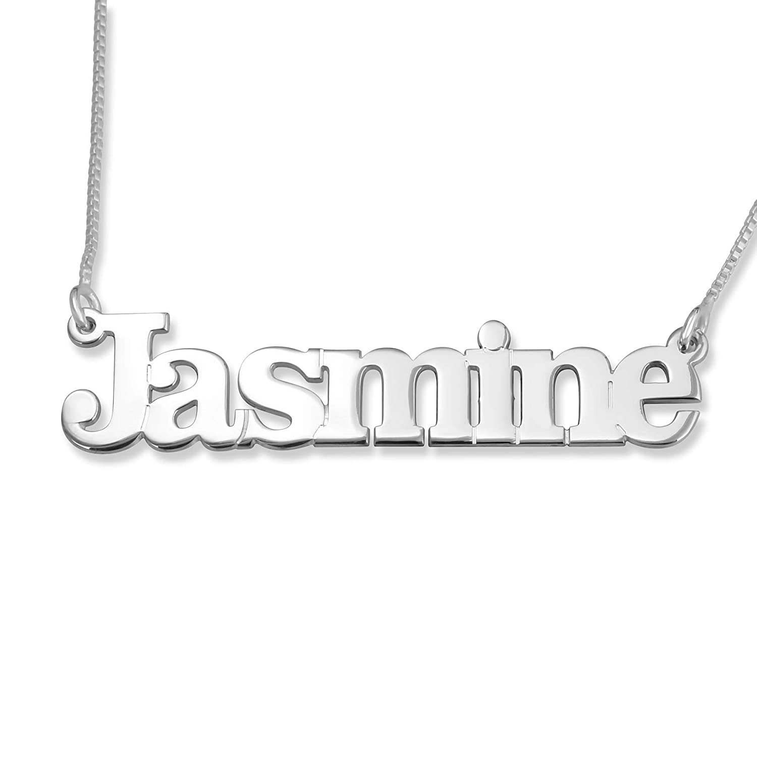 "Name Factory /""Jasmine/"" 925 Sterling Silver Pendant Necklace Cleveland Font"