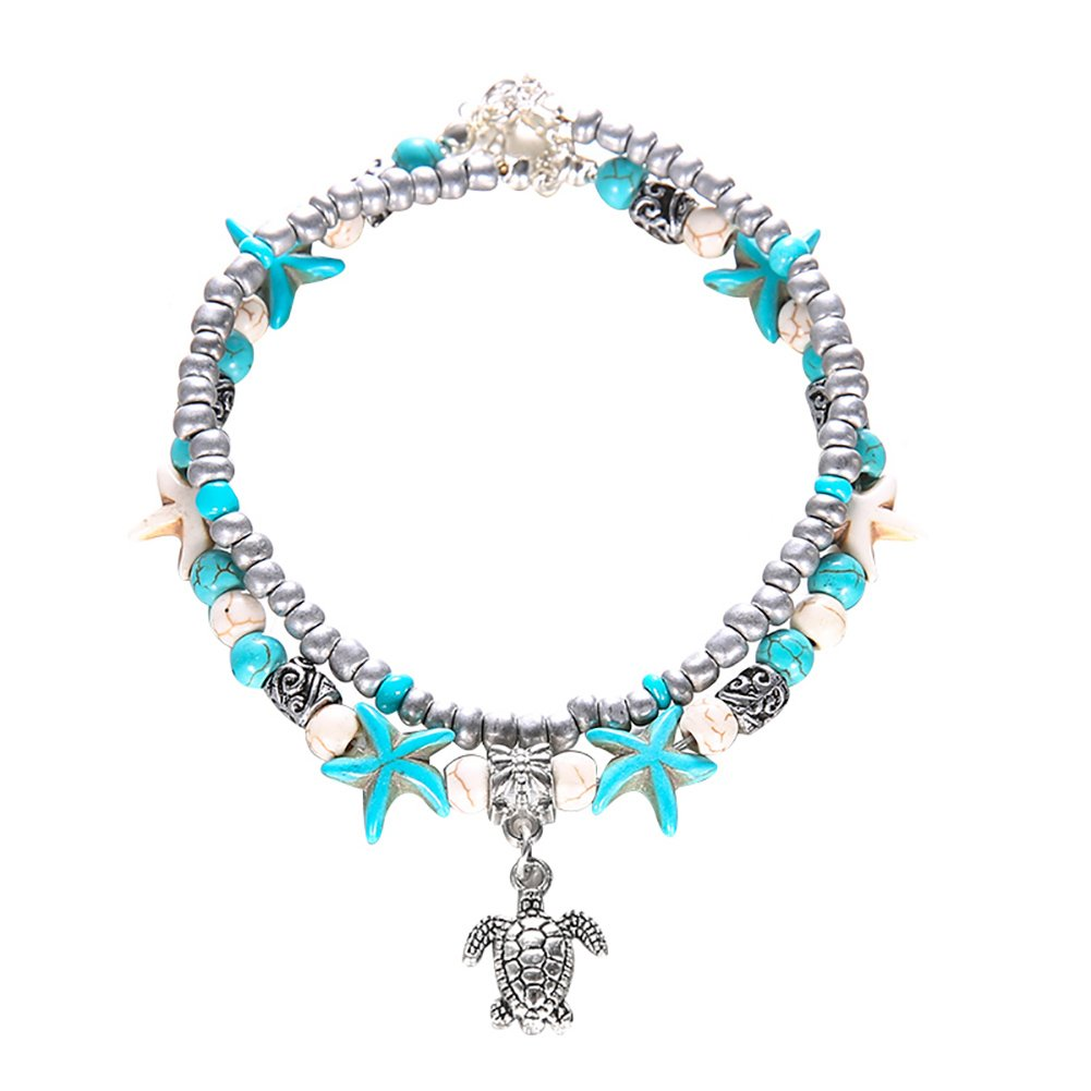 dragonaur Starfish Turtle Boho Double Layer Beaded Turquoise Charm Chain Ankle Bracelet WCXFG95W