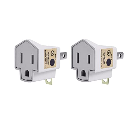 3 Prong To 2 Prong Adapter Grounding Converter Ul Listed Jackyled 3 Prong Adapter Converter Fireproof Material 200℃ Resistant Heavy Duty For Wall Outlets Household 2 Pack by Jackyled