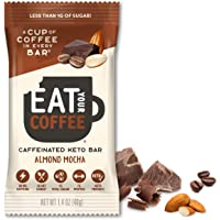 KETO Caffeinated Energy Bar, 2g Net Carbs, Contains 80mg Natural Caffeine = 8oz Cup of Coffee, Almond Mocha Flavor 6 Count by Eat Your Coffee   Coffee Flavor, Keto Snack, Paleo Snack, Low Sugar Snack