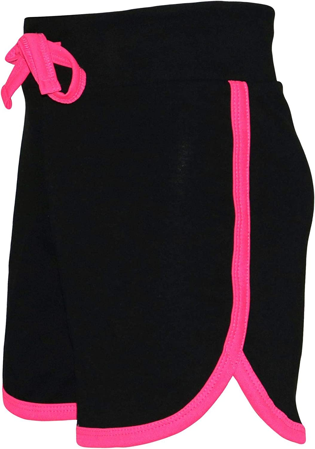 Kids Girls Shorts 100/% Cotton Gym Sports Black /& Neon Pink Summer Hot Pant Short