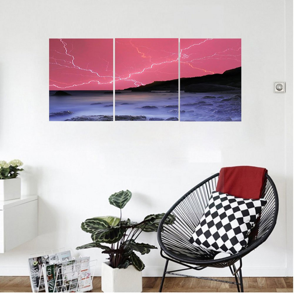 Liguo88 Custom canvas Lake House Decor Thunderstorm Bolts With Vivid Colorful Sky Like Solar Lights Phenomenal Nature Picture Bedroom Living Room Decor Pink Grey