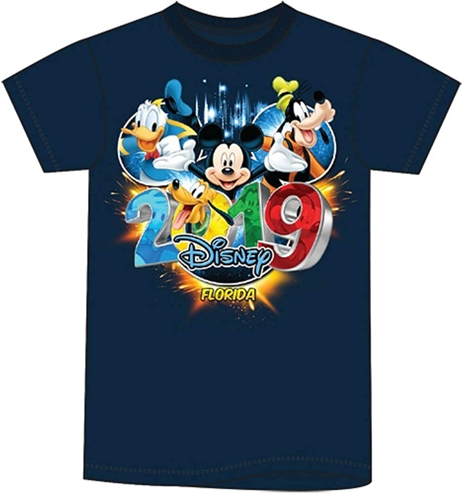 Navy Blue Tee FL Namedrop Disney Toddler 2019 Dated Pop Out Mickey Goofy Donald Pluto
