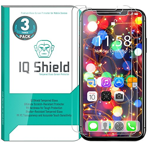 iPhone X Screen Protector (3-Pack), IQ Shield Tempered Ballistic Glass Screen Protector for iPhone X/iPhone 10 2017 [Case Friendly] [Easy Install] [3D Touch] [Ultra Clear] [Shatter Proof]